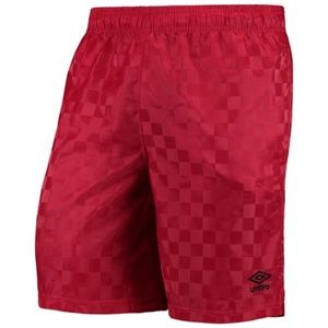New Umbro Shiny Checkerboard Athletic Shorts Red